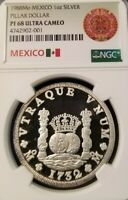 1988 MEXICO SILVER 1 ONZA PILLAR DOLLAR NGC PF 68 ULTRA CAMEO VERY SCARCE ISSUE