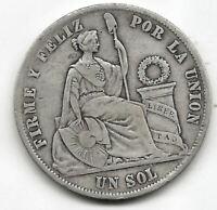 Peru 1 Sol 1872 Y.J.  plata @@ Bella @@