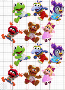 12 Muppet Babies STAND UP Cupcake PRE-CUT Topper Edible Paper Decorations edible