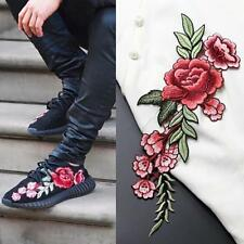Hot Embroidery Red Rose Flower Sew Iron On Patch Badge Clothes Fabric Applique