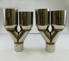 "2X Sliver Muffler Dual Exhaust Tip Polished Stainless Steel 2.5""X3.5"" staggered"