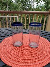 2~ Margarita  Highball Glasses Cobalt Blue Rim Hand Blown Mexico