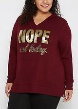 NEW WOMENS PLUS SIZE 3X MAROON NOPE. NOT TODAY FUNNY FOILED COMFY FLEECE HOODIE