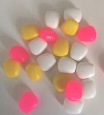 20 X Mixed Pop Up Sweet Corn Rubber Bait Carp Fishing Plastic Yellow Pink White