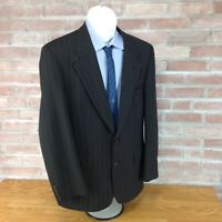 Burberrys Wool Blazer 42R Black Pinstripe Sport Coat Suit Jacket Men's Classic