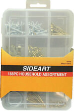 188pc household assortment box fixings - Nails, hook, ring screws, picture frame