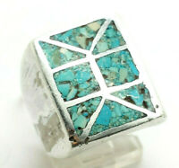 Navajo Mens Rectangle Turquoise Sterling Silver 925 Ring 15g Sz.7.75 ZAC378