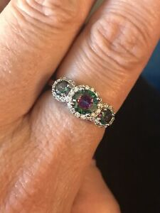 Halo 3 Stone Rainbow Topaz Sterling Silver Ring Size 8