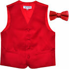 New Boy's Kid's formal Tuxedo Vest Waistcoat  bowtie red US size 2-14 wedding