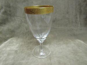 Vintage Reizart Crystal Scroll Floral Etched Gold Encrusted Trim Ice Tea Glass