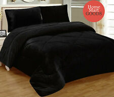 New Black Warm Super Thick Soft Borrego Sherpa Quilted Blanket 3 Piece Set