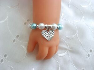 DOLLS TURQUOISE & WHITE ANGEL WINGS BRACELET FOR / FIT BABY BORN ANNABELL REBORN