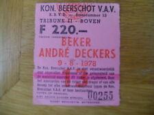 TICKET BEKER ANDRE DECKERS 9-8-1978 BEERSCHOT VAV