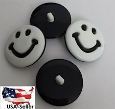 lot 6 black  white happy face smiley face self shank shirt acrylic buttons 25 mm