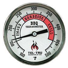 """Tel-Tru BQ300 BBQ Grill & Smoker Thermometer Aluminum 3"""" Dial w/ 4"""" Stem"""