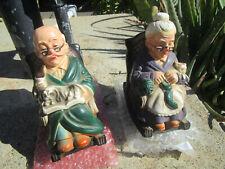 Rare Vintage Pair of Grandma & Grandpa dog cat rocking chair Ceramic Banks Japan
