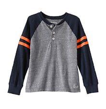 OshKosh B'Gosh Boys Gray Grey and Blue Long Sleeve Raglan Top Shirt New Size 4