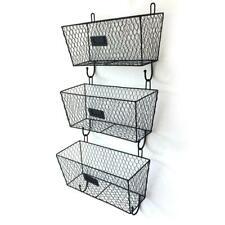 3pcs Wire Letter Mail Mount Metal Rack Basket Vintage Triple Organizer Black NEW