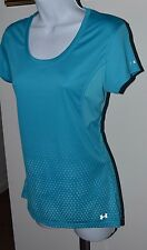 UNDER ARMOUR Semi-Fitted Heat Gear S/S Shirt Top Ladies M Blue Bottom Polka Dot