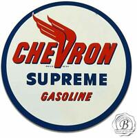 Chevron Supreme Gas Gasoline Motor Oil Metal Sign