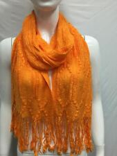 KNITTED  WINTER SCARF THICK BULKY COLD SEASON COLOR ORANGE