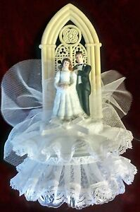 "Wedding Cake Topper - White Lace, Beige Arch, White Man & Woman 8.25"" Tall"