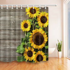 Bathroom Decor Sunflowers On Wooden Fabric Shower Curtain in Bath with Hooks
