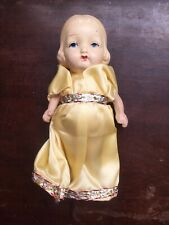 """Painted Bisque 6"""" Girl Doll, Jointed Arms. Carnival Prize Toy - unmarked."""