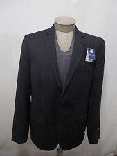 Stafford Men's 100% Wool Coat Blazer Jacket Slim Fit Charcoal Pinstripe 44L $160