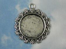 4 Bezel Tray Settings Fancy RD Pendants Treasure Charms Photo Silver Tone #P866