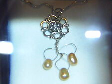 Fresh Water Pearl-Pale Yellow with Sterling Silver Flower Design-Dainty-5x6mm