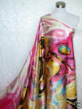 100% Silk Charmeuse Fabric Bold Art M02 5.9  Yards - last piece