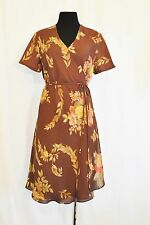 VTG 80s sz 12 BoHo Hippie CHIC Brown Floral Wrap Secretary Day to Eve Dress