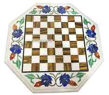 """12"""" White Marble Coffee Chess Play Table Mosaic Inlay Marquetry Furniture Decor"""