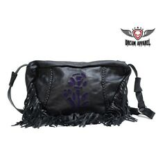 Womens Genuine Black Leather With Purple Rose Inlay Purse