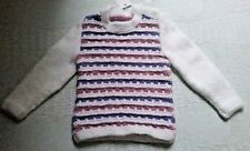 SIZE 00 - SIZE 0 BABY GIRLS WHITE PATTERNED LONG SLEEVE HAND KNITTED JUMPER BNWT
