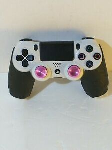 Glacier White Dualshock Wireless PS4 Controller for Playstation 4 w/ Pink Sticks
