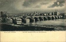 Koblenz alte AK Rhein Brücke ~1910 Blick auf die Moselbrücke bei Mondschein
