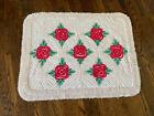 Vintage Red Green Flower Floral Rectangular Chenille Throw Rug STUNNING 31x40