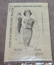 VINTAGE 1962 SPADEA PATTERN N-1154 ANNE KLEIN DRESS SIZE 10