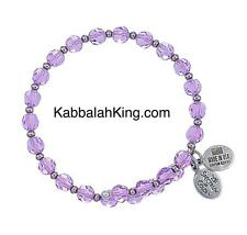 Wind & Fire 6mm Violet Crystal With Spacer Bead Stackable Bangle Bracelet USA