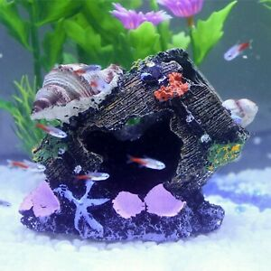 Artificial Shell Barrel Cave Aquarium Fish Tank Landscape Decoration Accessories
