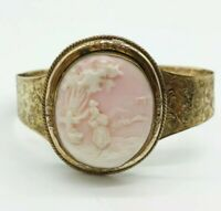 Antique  Victorian Angel Skin Pink Carved Cameo Gold Gilt Cuff Bracelet