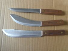 OLD HICKORY 3 PIECE KNIFE SET FACTORY SECONDS TRADITIONAL CARBON STEEL U.S.A