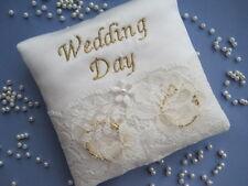 """9cms POCKET SIZE """"WEDDING DAY"""" IVORY BRIDAL SATIN/ LACE WEDDING RING CUSHION"""