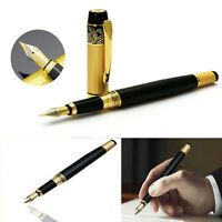 Luxury HERO 901 Medium Nib Pens Fountain Pen Black Gold Stainless Chrome Steel