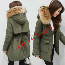 Womens Real Fur Collar Military Hooded Cotton Padded Warm Puff Coat Winter Parka