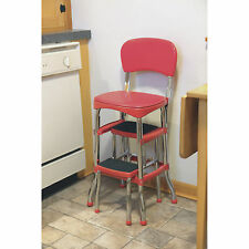 Red Retro Chrome Pull Out Step Stool with Chair Kitchen Bar Counter Garage Home