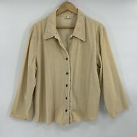 J Jill Women's Button Down Jacket Tan Floral Size XL Corduroy Embroidered Floral