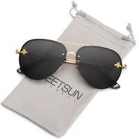 Luxury Rimless Driving Bee Sunglasses Women Pilot Vintage Outdoor UV Sun Glasses